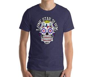 Lone Star Slick TEXAS Sugar Skull Logo Fancy Tee Short-Sleeve Unisex T-Shirt Dixie Cowboy ALL SIZES