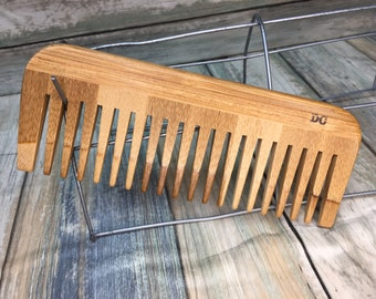 """USA Made 6.5"""" BAMBOO Wide Tooth Detangler Comb Styling Wood Detangling Pocket Purse Anti Static Wet Hair Comb Dixie Cowboy F26"""