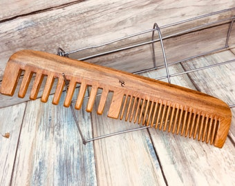 """USA Made Two Tone SANDALWOOD Wood Comb 9"""" 2 Sided Wide Medium Barber Styling Dressing Smoothing Pocket Hair Comb Dixie Cowboy F41"""