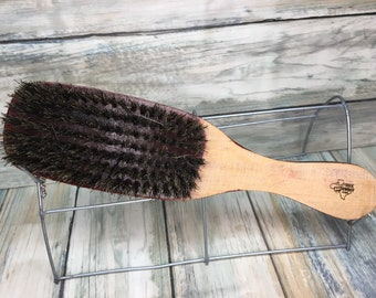 "USA Made NATURAL BOAR Hair Raw Wood Long Handle Brush 9"" Red Hair Bristle Soft Mid Firm Stiff Styling Brush Hair Beard Dixie Cowboy q06"