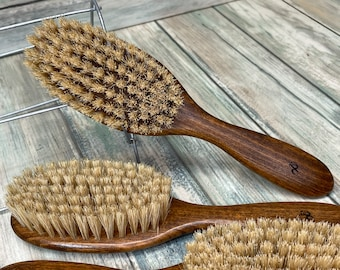 """FREE Shipping USA Made Natural Color BOAR Hair Brush Wood Handle Stained Beechwood 7.5"""" Bristle Soft Medium Styling Beard Dixie Cowboy Q05"""