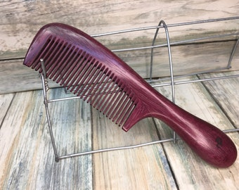 "USA MADE Purpleheart VIOLET Violetwood 7"" Styling Dressing Finishing Round Handle Comb Fine Tooth Wood Hair Comb Dixie Cowboy A15"
