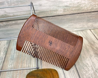 "USA Made BLACK WALNUT Wood 4"" & 2"" Sandalwood Comb Texas Beard Mustache Two Sided Wide Fine Pocket Hair Comb Dixie Cowboy D30"