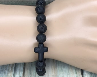 Natural Black LAVA BEAD Volcanic Stone Beads Mala Bracelet Black Cross Essential Oil Diffuser Chakra Elastic Men's Women's Dixie Cowboy J2