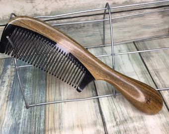 "USA Made Green Sandalwood Wood & Buffalo Ox HORN COMB Detangler Fine Tooth 7"" Round Handle Hair Beard Dixie Cowboy Anti Static F33"