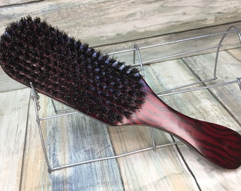 """USA Made NATURAL BOAR Rockabilly Flame Design Wood Hair Brush Curved Contoured Handle 9"""" Bristle Firm Stiff Styling Beard Dixie Cowboy E32"""