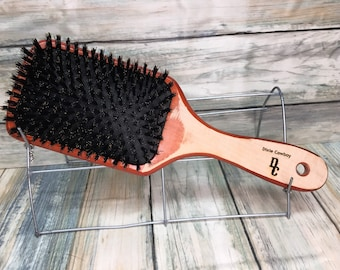 """USA Made Natural Boar Hair & Reclaimed WOOD 10"""" Cushion Smoothing Detangling Detailing Wet Dry Paddle Brush Handle Dixie Cowboy U18"""