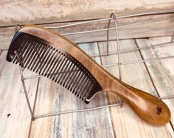 "USA Made Green Sandalwood Wood & Buffalo Ox HORN COMB Detangler Fine Tooth 7"" Round Handle Hair Beard Dixie Cowboy Anti Static D4"