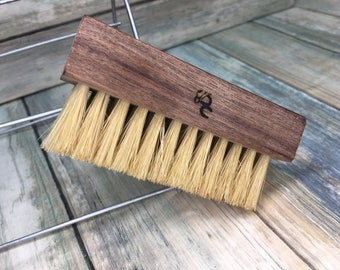 "USA Made Rare Walnut Wood Natural Color Tan BOAR Hair Wood Beard Bristle Brush BEARDS & Short Hair 4"" Medium Palm Military Dixie Cowboy U4"