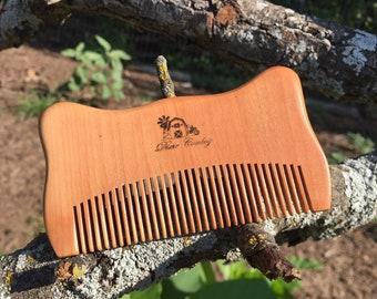 "Handmade TEXAS Reclaimed PEACH WOOD 4"" Styling Dress Pocket Purse Perfect Beard Mustache Hair Comb Men's Women's Dixie Cowboy w30"