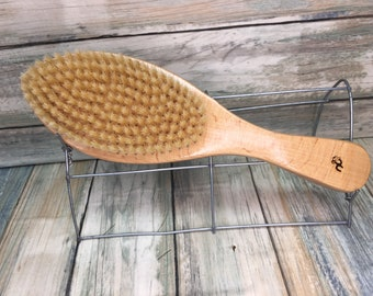 """USA MADE Natural Color BOAR 9.5"""" Curved Contoured Hair Dry Body Brush Bristle Soft Styling Beard Wood Handle Dixie Cowboy Tx53"""