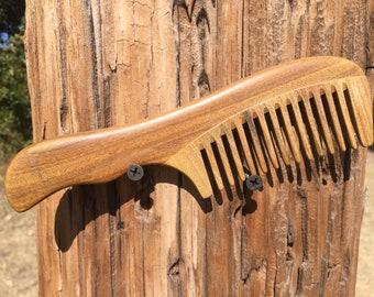 "Handmade Green SANDALWOOD 7"" 7.5"" Handle Detangler Detangling Thick Deep Wide Tooth Toothed Wet WOOD Hair COMB Dixie Cowboy D9"