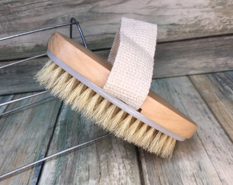 "USA Made BOAR Hair Body Shower 5"" SCRUB Brush Exfoliating Cellulite Bath Dry Skin Brushing Bristle Wood Dixie Cowboy K3"