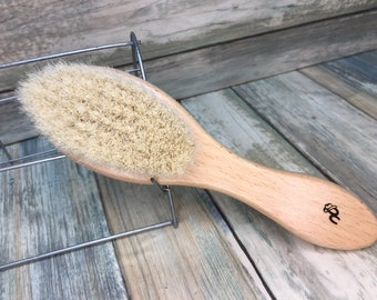 "USA Made 100% Texas GOAT Brush Farm Raised Goats Hair Bristle 7"" Beechwood Wood Handle Hair Body Face Dry Barber Neck Duster Beard Baby Q04"