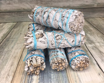 """WHITE SAGE Bundles 4"""" Sticks Wands for Smudging Incense Negativity Clearing Smoke Smudge Burning Dixie Cowboy S1"""
