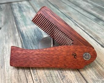 "USA Made Handmade 7"" REDwood Rosewood Folding COMB Perfect Gift Wood Hair Comb Folding Pocket Purse Styling Beard Mustache Men's Women's C1"