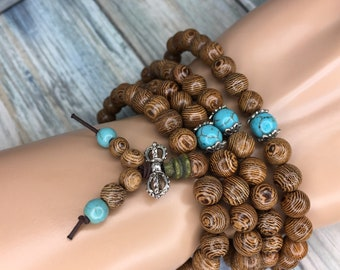 Handmade WENGE WOOD Prayer Bead Braclet or Necklace Buddhist Turquoise Accent 8mm 108 Beads Mala Elastic Men's Women's Dixie Cowboy J7