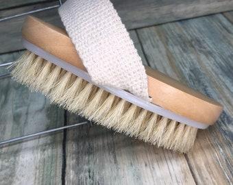 """USA Made BOAR Hair Body Shower 5"""" SCRUB Brush Exfoliating Cellulite Bath Dry Skin Brushing Bristle Wood Dixie Cowboy R24"""