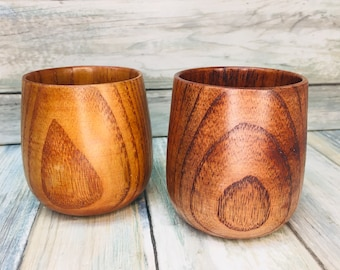 USA Made JUJUBE WOOD Set of 2 Drinking Cup 7oz Hot or Cold Teacups Wine Tea Coffee Water Cups Mugs Glasses Camping Dixie Cowboy Q38