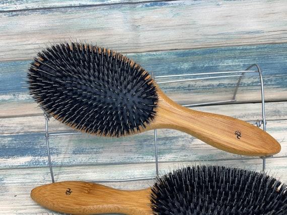 "USA Made Boar Hair & BAMBOO Wood 9.5"" XL Black Cushion Pin Smoothing Detangling Detailing Wet Dry Paddle Brush Handle Dixie Cowboy"