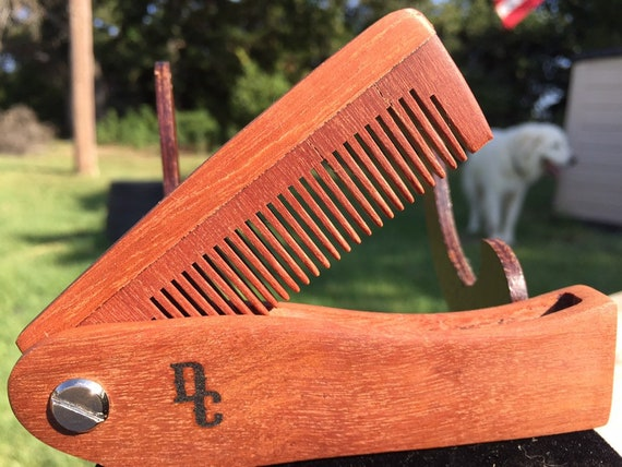 "Handmade 7"" Texas ROSEWOOD Rose FOLDING COMB Perfect Gift Wood Hair Comb Folding Pocket Purse Styling Beard Mustache Men's Women's f18"