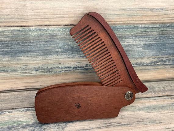 "USA Made Handmade 7"" ROSEWOOD rose Folding COMB Perfect Gift Wood Hair Comb Folding Pocket Purse Styling Beard Mustache Men's Women's B12"