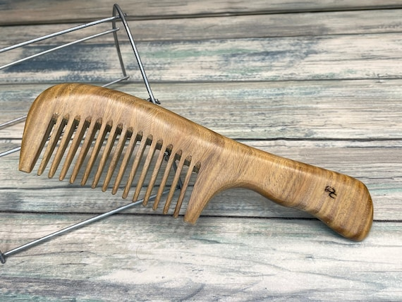 """USA Made 7"""" Whole Piece SANDALWOOD Wood Styling Handle WIDE Tooth Detangler Anti Static Wet Dry Hair Comb Dixie Cowboy A14"""