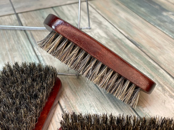 "USA Made Red Reclaimed Wood & BOAR Hair Wood Beard Bristle Brush BEARDS Short Hair 4.5"" Medium Soft Firm Palm Military Dixie Cowboy"