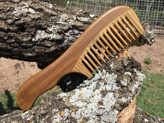 "Handmade Green SANDALWOOD 7"" 7.5"" Handle Detangler Detangling Thick Deep Wide Tooth Toothed Wet WOOD Hair COMB Dixie Cowboy E06"