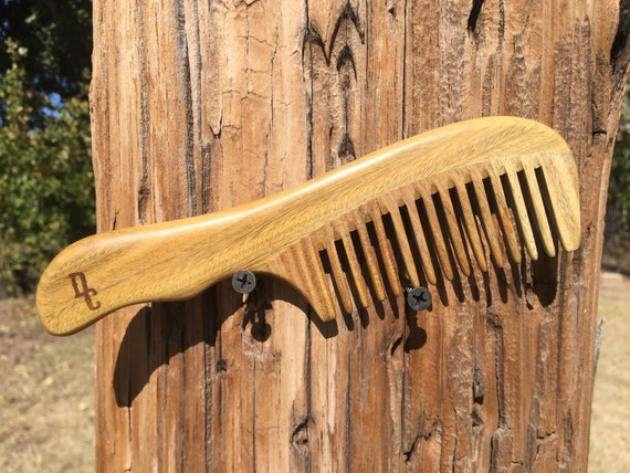 "Handmade Green SANDALWOOD 7"" 7.5"" Handle Detangler Detangling Thick Deep Wide Tooth Toothed Wet WOOD Hair COMB Dixie Cowboy D11"