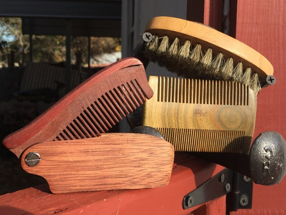 4pc CHRISTMAS Gift Set BOAR Hair Bamboo Wood Brush Sandalwood Mustache Beard Comb Rosewood Folding Comb Bristle USA Made Dixie Cowboy c4