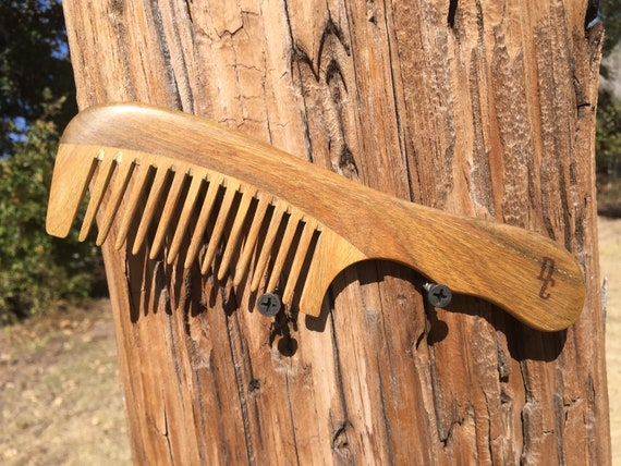 "Handmade Green SANDALWOOD 7"" 7.5"" Handle Detangler Detangling Thick Deep Wide Tooth Toothed Wet WOOD Hair COMB Dixie Cowboy D10"