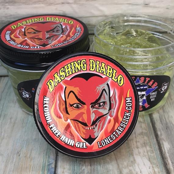 DASHING DIABLO Alcohol Free Olive Oil & Vitamin E Hair GEL 5oz Firm Stiff Max Hold Styling Molding Non Flaking Salon Quality Dixie Cowboy