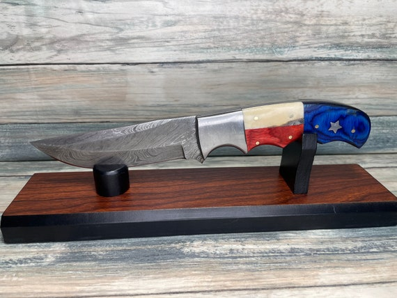 "USA Made Texas Flag USA PaKkawood & BONE Handle 9"" Damascus Steel Knife Red White and Blue America Skinner Skinning Dixie Cowboy Tx60"
