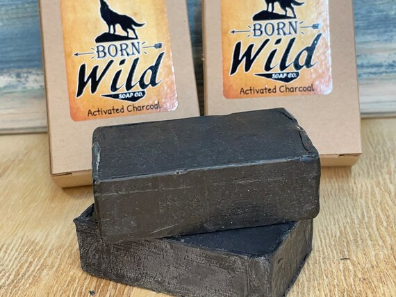ACTIVATED CHARCOAL Spa Series Ayurvedic Soap Born Wild Bar Herbal Essential Oils All Natural and Organic Ingredients 3.5 oz Dixie Cowboy