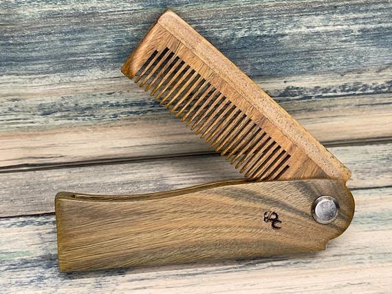 "USA Made Handmade 7"" SANDALWOOD Folding COMB Perfect Gift Wood Hair Comb Folding Pocket Purse Styling Beard Mustache Men's Women's A25"