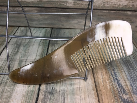 "USA Made BUFFALO Ox HORN Hair Comb Custom Rustic Natural Shape Curved 6"" Yak Medium Tooth Beard Pocket Dixie Cowboy A30"