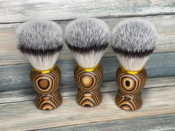 USA Made Pakkawood Wood & Badger Boar Nylon Faux Hair Shaving Brush Vegan Friendly Lather Shave Soap Dixie Cowboy