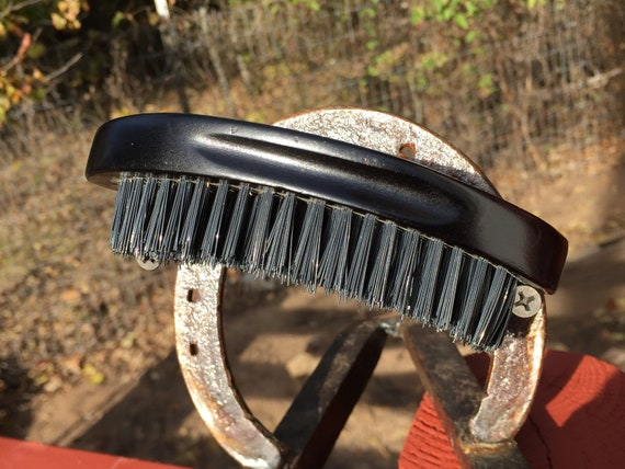 """BOAR Hair and Distressed WOOD Black Curved Bristle Wood 5"""" very Firm Stiff Palm Military Hand Beard Brush USA Made Dixie Cowboy Q07"""