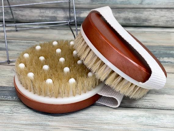 "USA Made BOAR Hair Teak Stained Wood Body 4.5"" Round Scrub scrubber Brush Massager Bath Dry Skin Shower Brushing Bristle Dixie Cowboy"