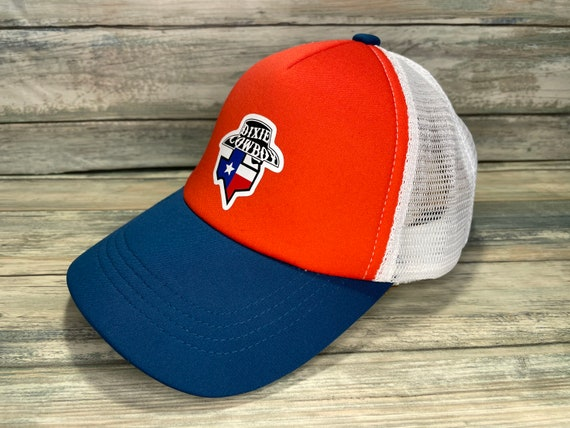 Dixie Cowboy Red White and Blue Retro Trucker Mesh Cap Hat one size BANDIT LOGO unisex