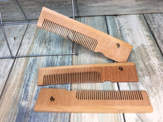 """USA Made 5"""" BAMBOO WOOD Eco Friendly Pocket Barber Comb Dress Anti Static Wet dry Hair Comb Dixie Cowboy C25"""