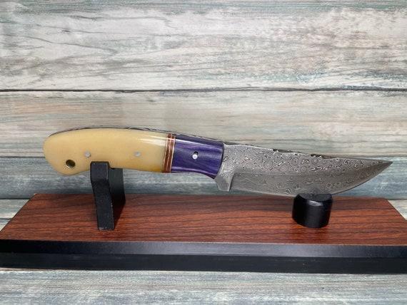 "USA Made Handmade COW Bone & Pakkawood Handle 8.5"" Knife with Sheath Full Tang Skinner Hunting Damascus Steel Fixed Blade Dixie Cowboy Tx64"