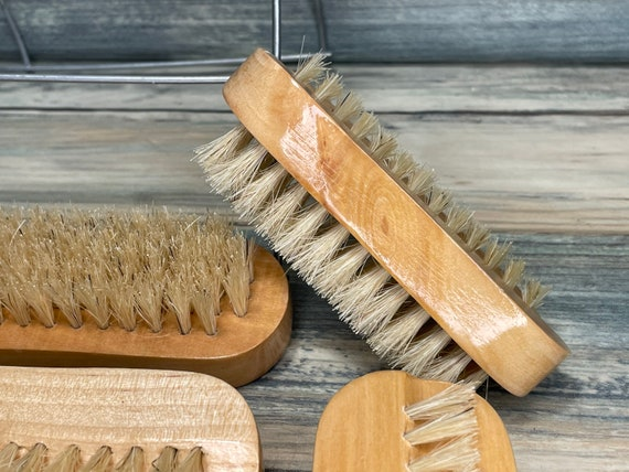 "USA Made BOAR Hair Blend Utility 2 Sided Brush WOOD 4"" Scrub Gardener's Hand Nail Feet foot Vegetable Fingernail Dixie Cowboy"