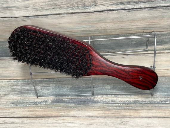 """USA Made NATURAL BOAR Rockabilly Flame Design Wood Hair Brush Curved Contoured Handle 9"""" Bristle Firm Stiff Styling Beard Dixie Cowboy"""