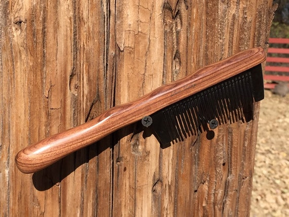 "Rustic Sandalwood Wood & BUFFALO Ox HORN Combo COMB Medium Fine Tooth 8"" Handle Wet Dry Styling Hair Beard Dixie Cowboy Anti Static F32"