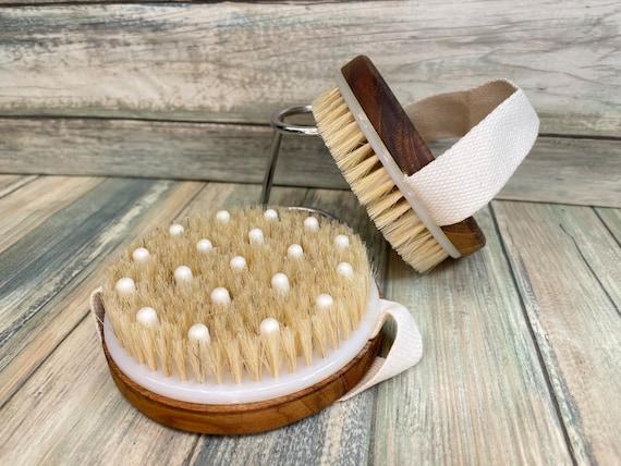 "USA Made BOAR Hair TEAK Wood Body 4.5"" Round Scrub scrubber Brush Exfoliating Massager Bath Dry Skin Shower Brushing Bristle Dixie Cowboy"