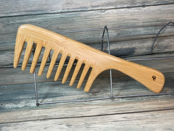 """USA Made Handmade BAMBOO Eco friendly 8"""" Wood Handle Detangler Detangling Thick Deep Wide Tooth Toothed Wet Wood Hair COMB Dixie Cowboy C19"""