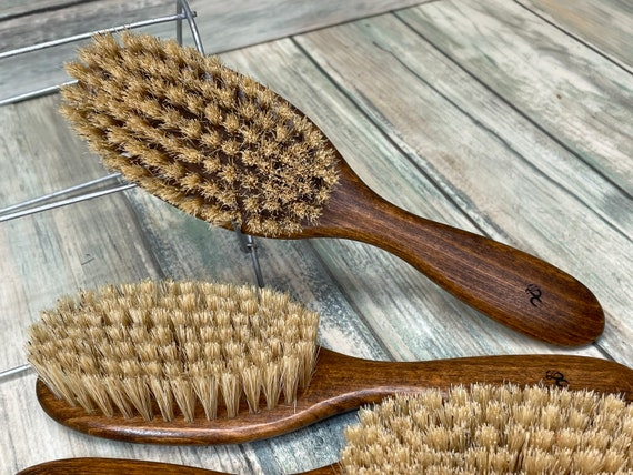 "USA Made Natural Color BOAR Hair Brush Wood Handle Stained Beechwood 7.5"" Bristle Soft Medium Styling Beard Dixie Cowboy Q05"