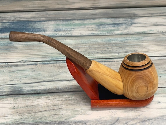 USA Made CHERRY Wood PIPE All Wood Stem Tobacco Smoking Pipe Men's & Women's Carved Wood Handcrafted Dixie Cowboy P13